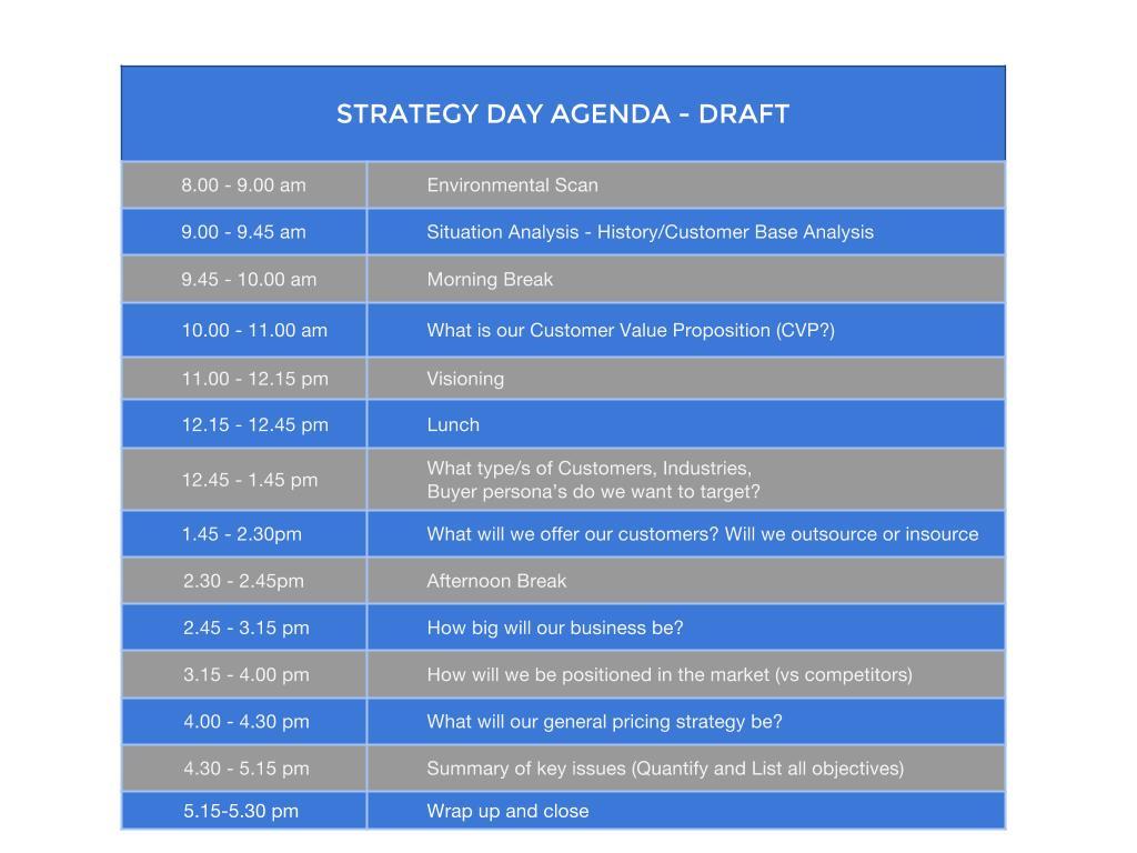 strategy day agenda
