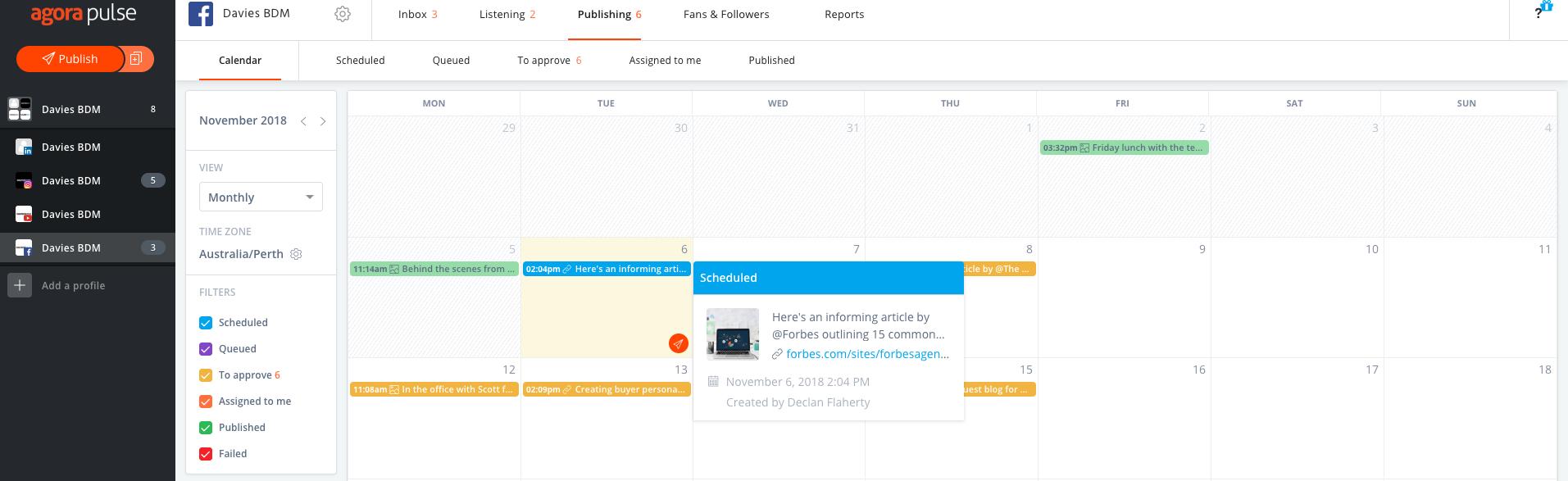 Agora Pulse Social Media Calendar